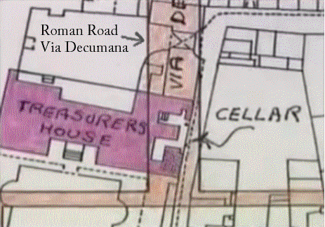The spot where the Roman road goes through the cellar of the Treasurer's House
