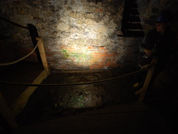 The spot in the cellar of the Treasurer's House where the Romans appeared from.